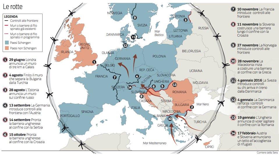 L 39 europa dei muri e del filo spinato sul corriere una for Carta per muri