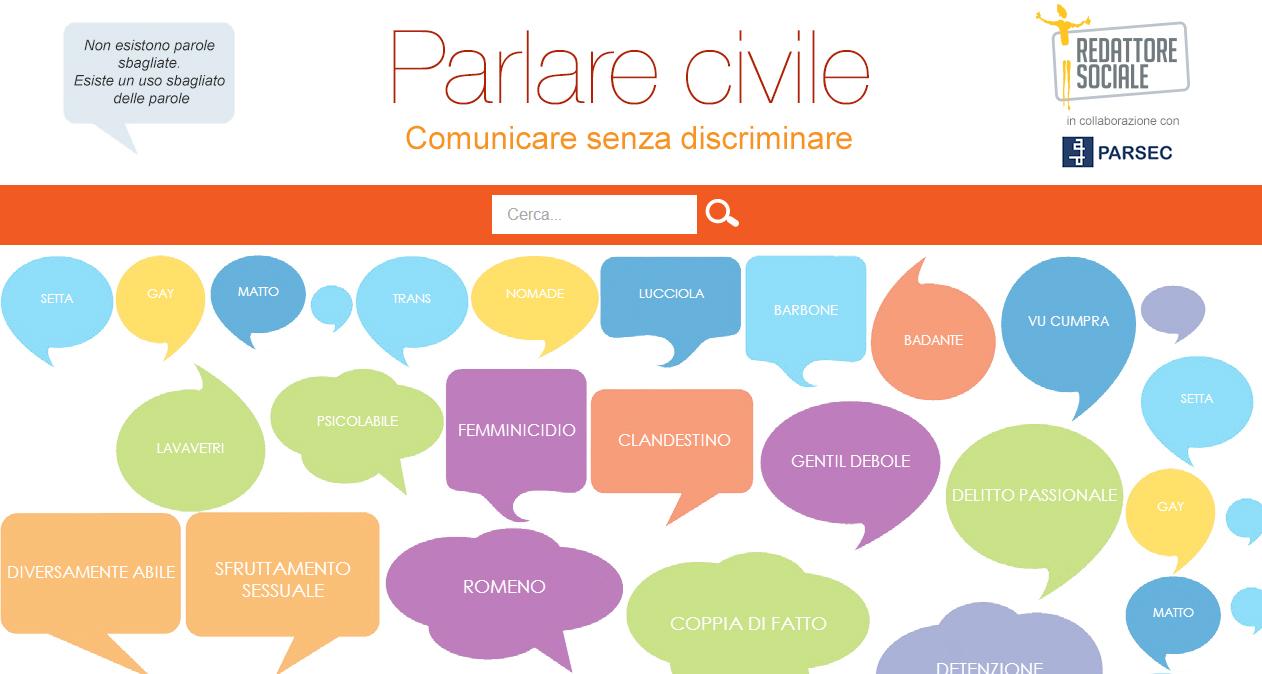 Parlare Civile: online la guida all'uso di un linguaggio non discriminatorio