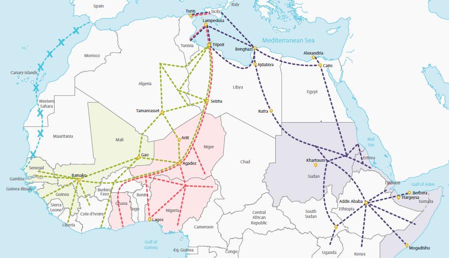 Futuri contrabbandati: le rotte dei richiedenti asilo verso il Nord Africa e l'Europa
