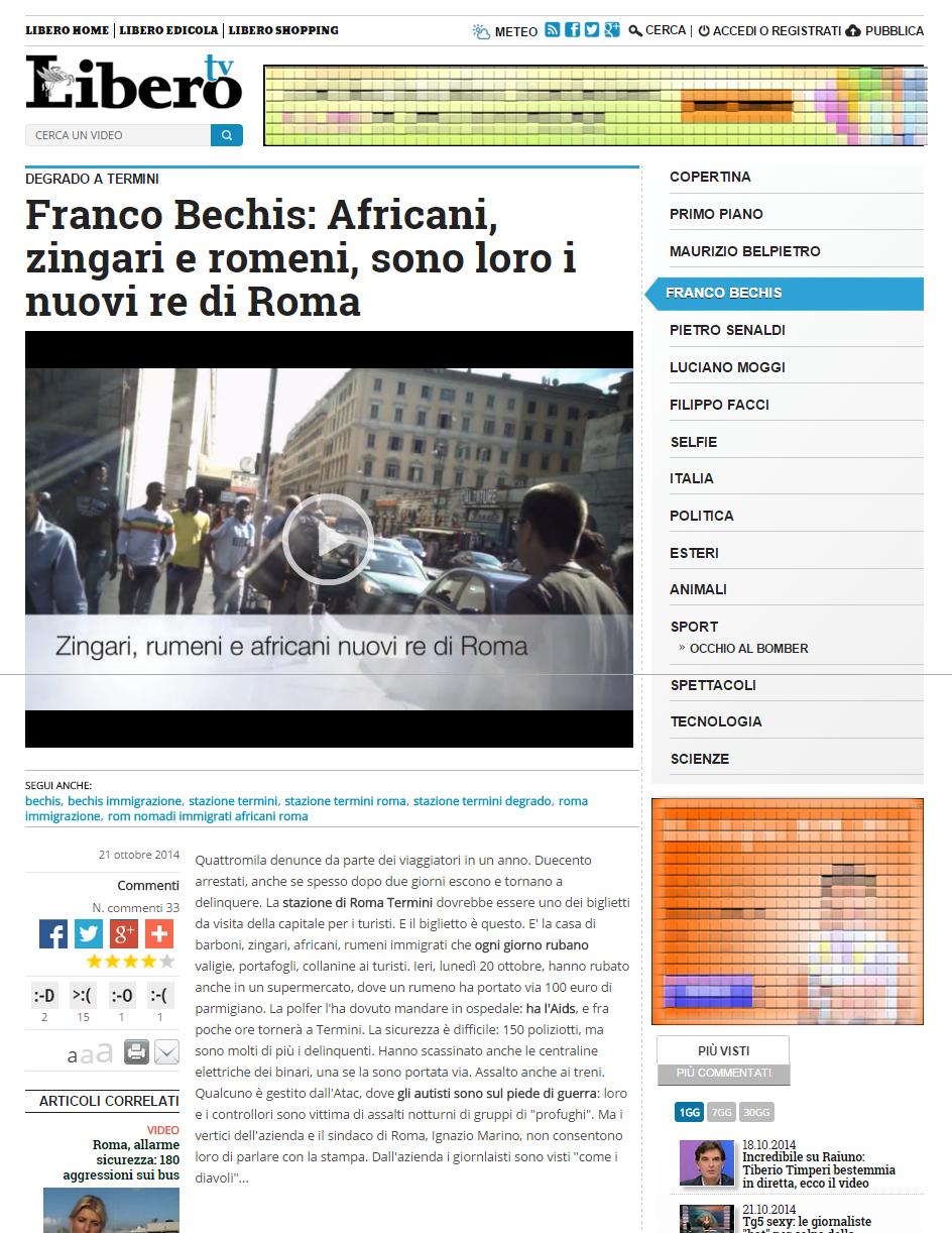 Africani, zingari e romeni. Libero