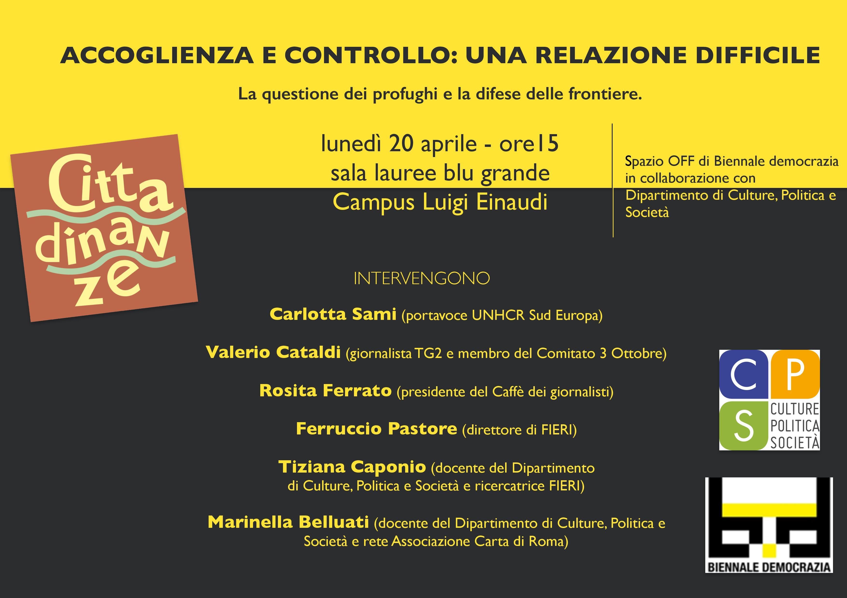 Accoglienza e controllo: una relazione difficile. A Torino un incontro aperto nell'ambito della Biennale della Democrazia
