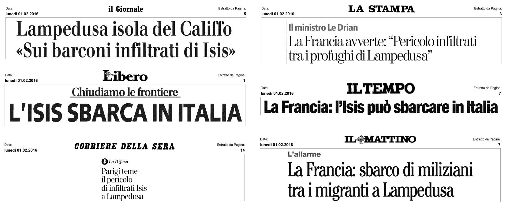 Coperture diverse. Ai titoli fuorvianti e allarmisti si alternano parole più moderate e aderenti alla realtà, come quelle del Corriere della Sera.