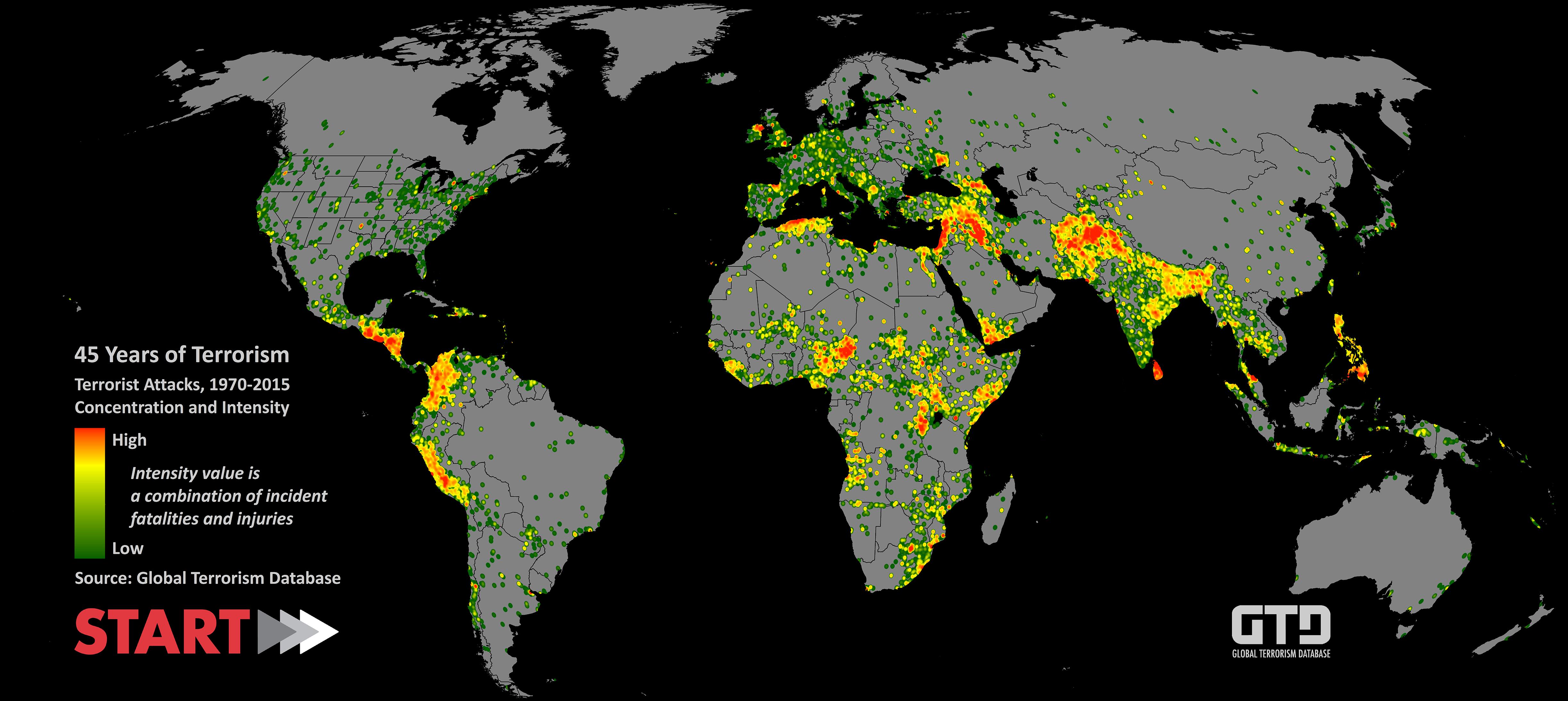Una mappa del Global Terrorism Database illustra gli attentati dal 1945 al 2015. Le aree più colpite sono Medio Oriente e Nord Africa.