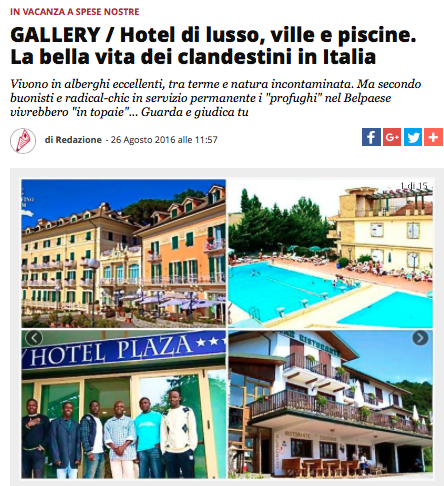 La leggenda degli hotel di lusso con piscina è usata puntualmente per fare propaganda. Qui l'esempio del Populista, sito web vicino alla Lega Nord.