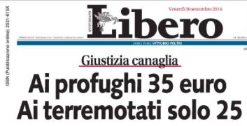 """Questa la prima pagina di Libero, il 30 settembre. Nonostante le numerose smentite, i """"35 euro"""" continuano a essere strumentalizzati da politici e news media."""