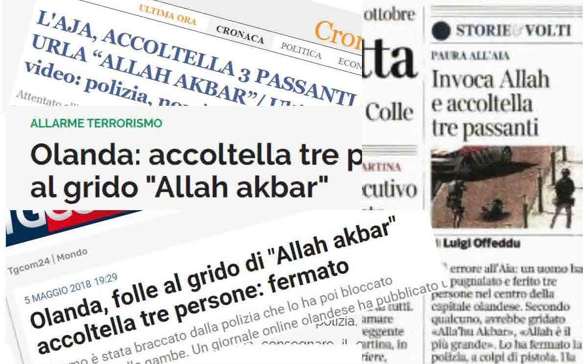"""Giornali terrorizzano le persone al grido di """"Allah Akbar"""""""