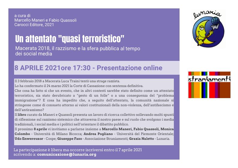 """Un attentato """"quasi terroristico"""". Presentazione online"""